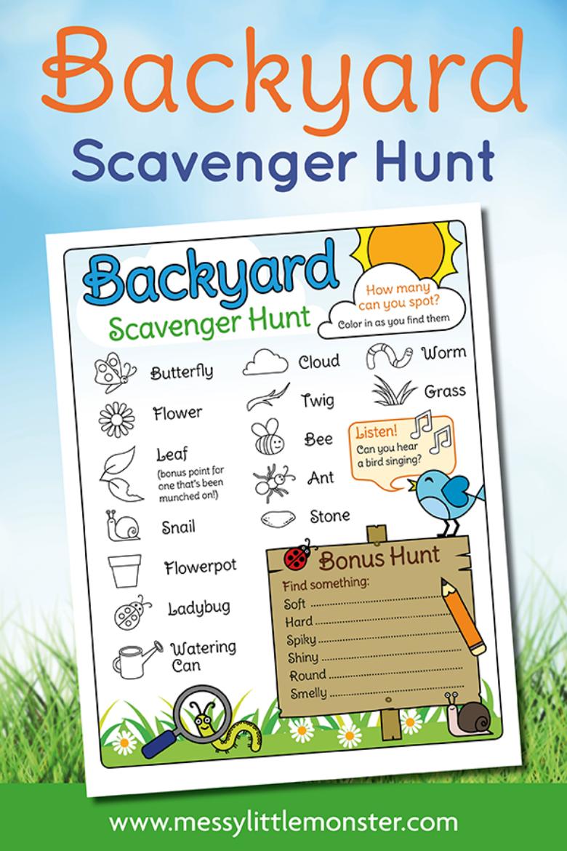 Printable outdoor scavenger hunt for kids.