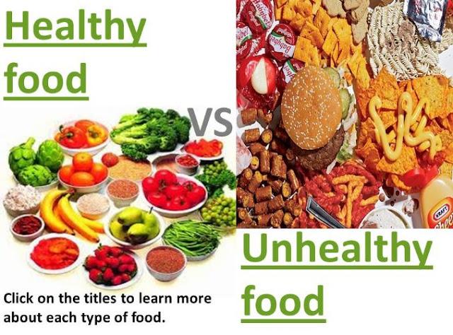 Healthy Foods vs. Unhealthy Foods Healthy and unhealthy food