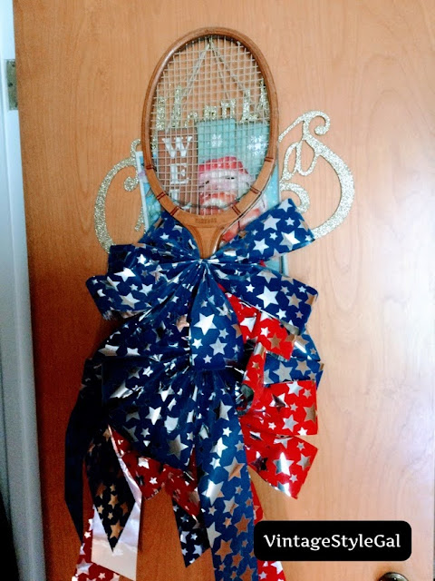 bows stored by tying them to a tennis racket