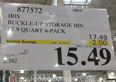 Deal for a 6 pack of Iris Buckle Up Storage Bins at Costco