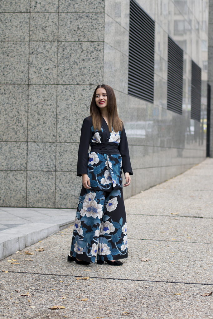 zara floral blazer and trousers