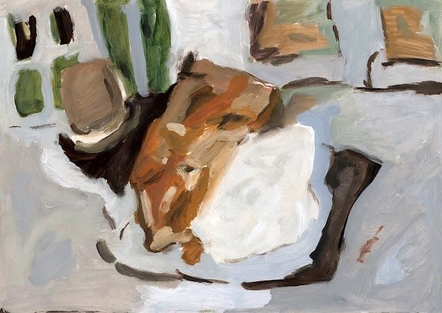 Appel tart, oil painting on paper