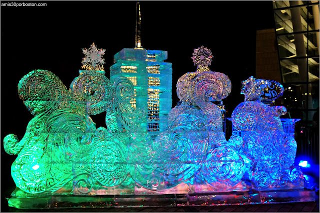 Escultura de Hielo de la First Night de Boston en el Prudential