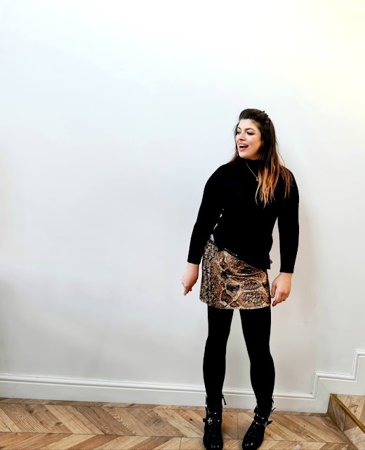 Christmas outfit beaded all saints skirt biker boots