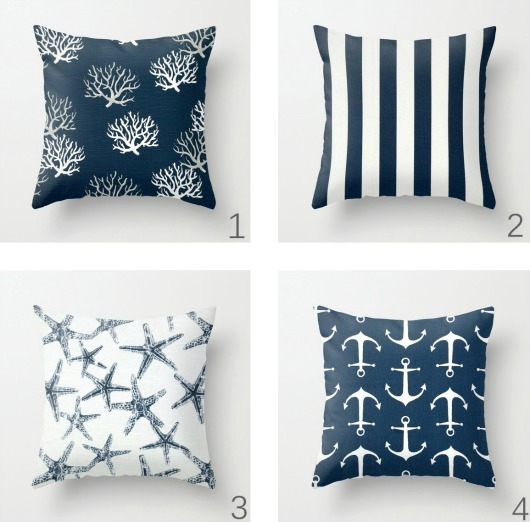 Navy Blue Nautical Pillows from Etsy