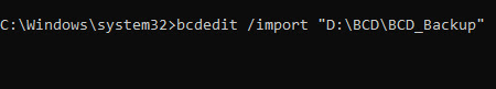 list of bcdedit command