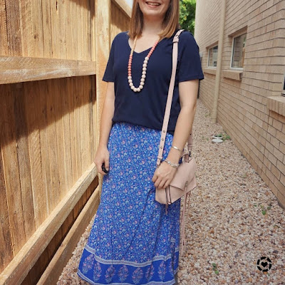 awayfromblue Instgaram | monochrome blue outfit with navy tee floral maxi skirt mum church style