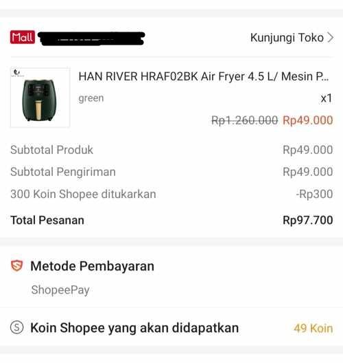 Flash Sale Air Fryer Han River Official  Shopee Ternyata cuma PHP