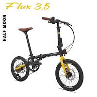 "Sepeda Lipat Pacific Flux 3.5 1x8 MD 16"" x 1 3/8"" Steel 1 x 8 Speed Mech Disc Brake Folding Bike"