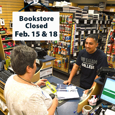 Photo of bookstore, agent serving a student.  Sign above reads: Bookstore Closed Feb. 15 & 18