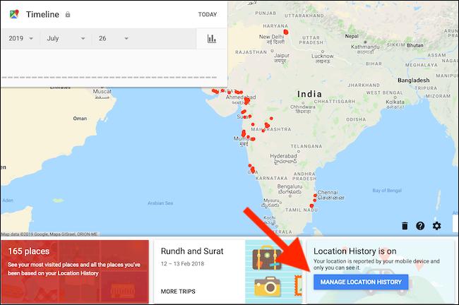 """انقر فوق الزر """"إدارة سجل المواقع"""" من صفحة الجدول الزمني لخرائط Google"""
