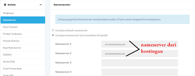 proses update nameserver domain ke hostingan