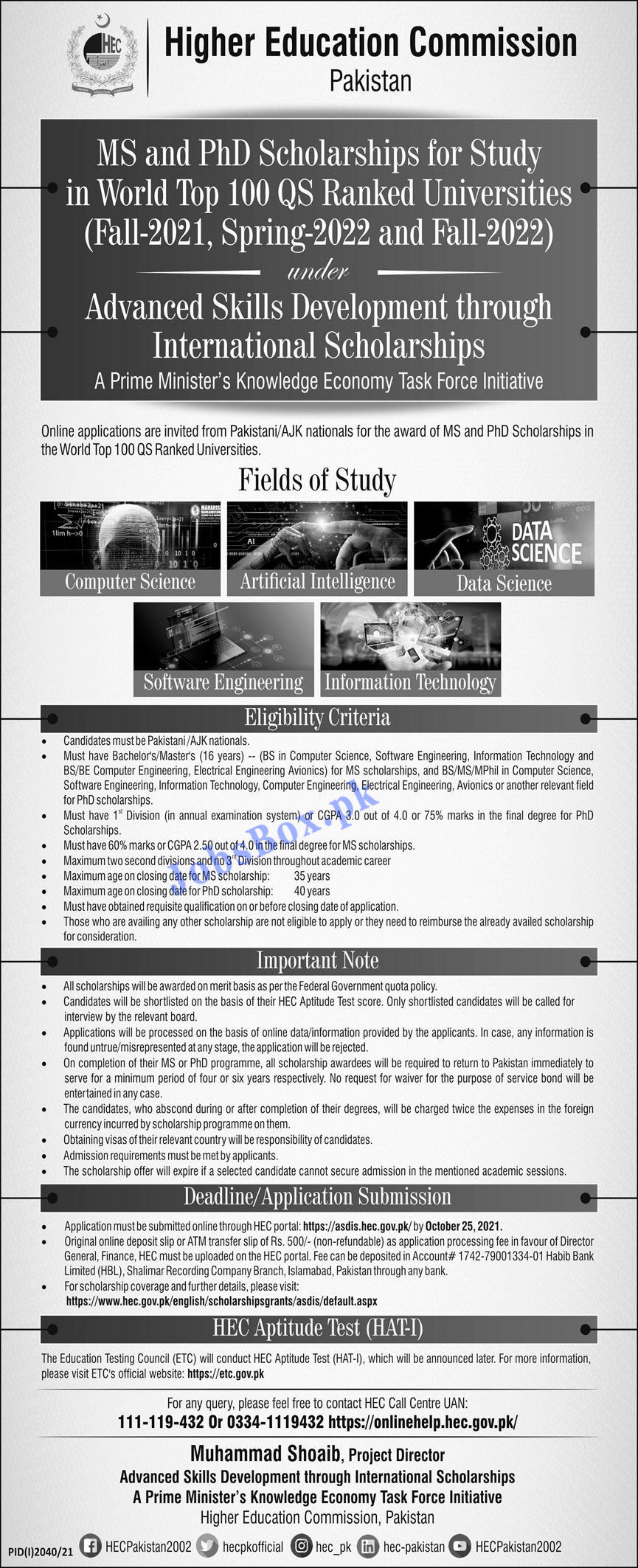 HEC MS and PhD Scholarship Program 2021 – Eportal.hec.gov.pk