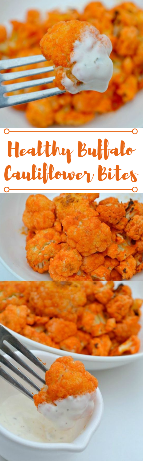 Healthy Buffalo Cauliflower Bites #recipe #cauliflower #vegan #healthy #vegatarian