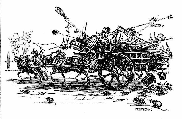 a messy traffic procession with rats in 1840