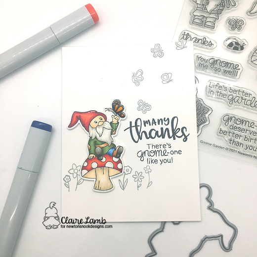 Many thanks by Claire features Gnome Garden and Thankful Thoughts by Newton's Nook Designs; #newtonsnook, #inkypaws, #thankyoucards, #cardmaking