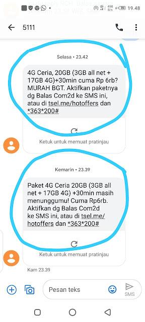 Paket 4G Ceria 20GB Telkomsel *363*200#