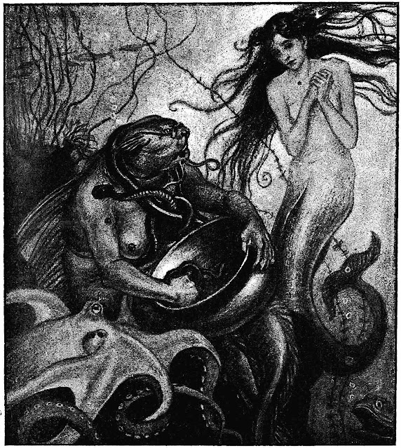 a 1906 children's book illustration of bare breasted mermaids
