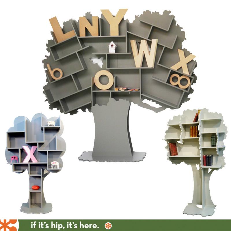 bookshelves shaped like trees
