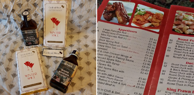 Cocktail hour treats and Chinese takeaway menu