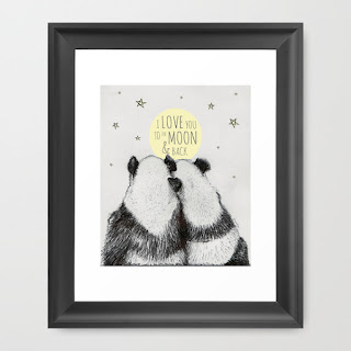 Panda illustration print framed