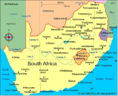 Letak geografis negara Afrika Selatan