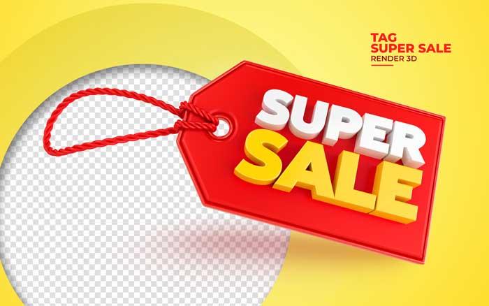 Realistic Super Sale 3D Render Tag Mockup