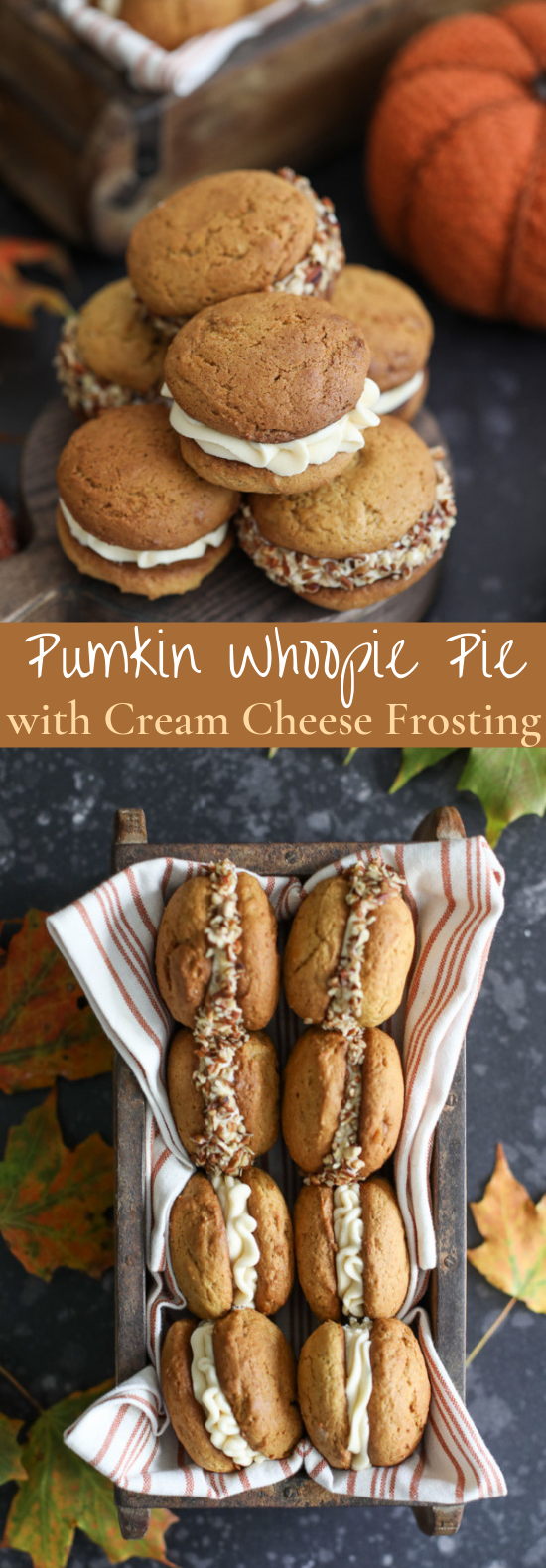 Pumpkin Whoopie Pies with Salted Caramel Cream Cheese Frosting #cookies #desserts