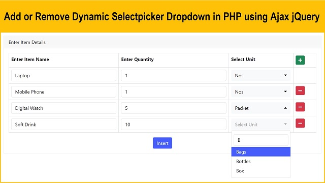 PHP jQuery Dynamic Select Selectpicker Dropdown box using Bootstrap 5