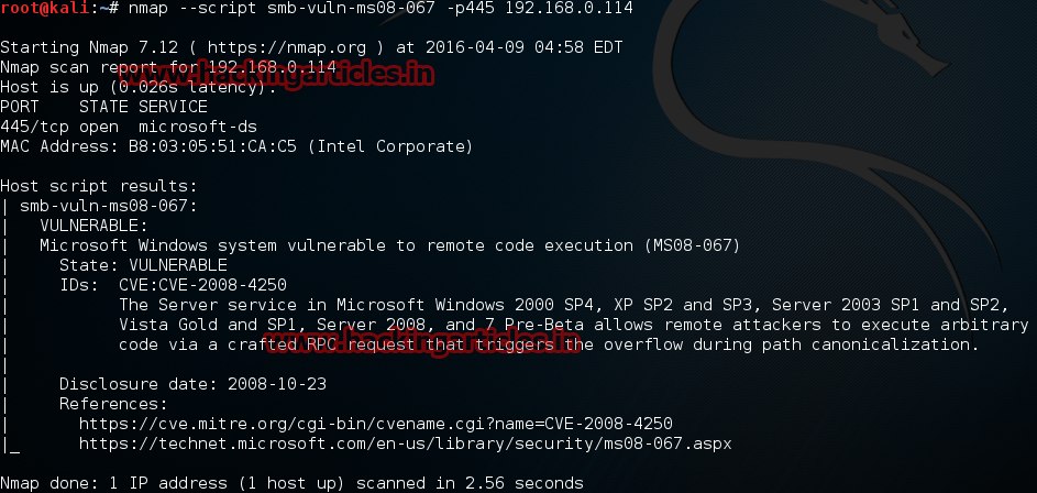 Finding Vulnerability in Server/Client using Nmap