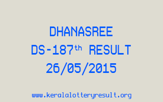 DHANASREE DS 187 Lottery Result 26-5-2015