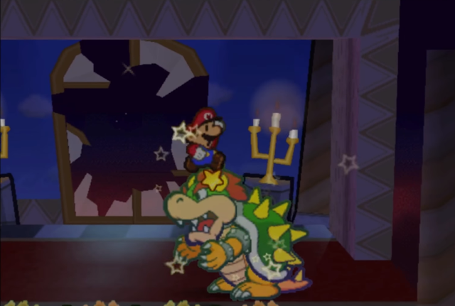 Paper Mario jumps on Star Rod Bowser invincible Prologue sparkly