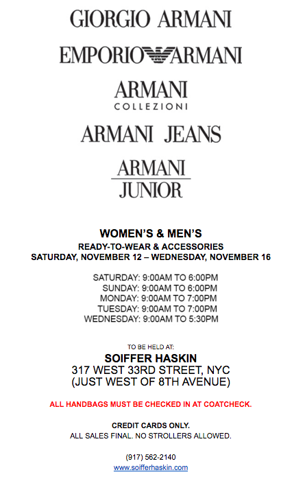 ba0f42ec581 fashionably petite  Armani Sample Sale - 11 12 - 11 16 16