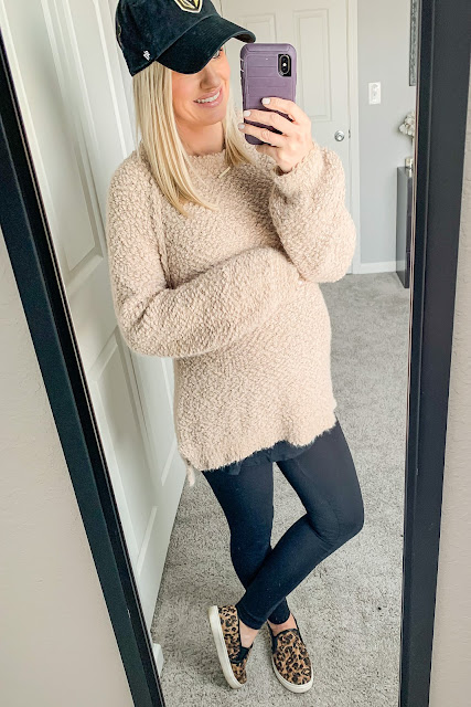 Cozy sweater and maternity leggings