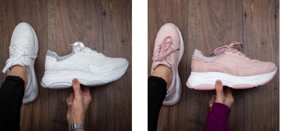 Adidasi femei cu talpa inalta albi, roz de calitate da pret mic
