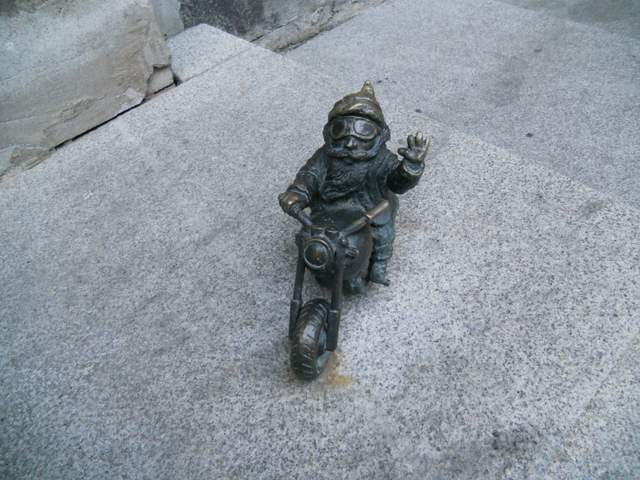 Gnome Hunting in Wroclaw: Dwarf riding a motorcycle