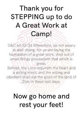 printable for Take home gift from YW camp.