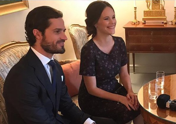 Princess Sofia Hellqvist and Prince Carl Philip met with author Caroline Engvall at Stockholm Royal Palace for Book Fair 2017