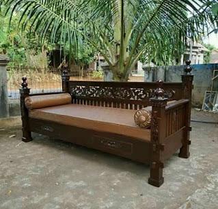 kursi tamu teras bale-bale kayu jati ukiran klasik asli Jepara