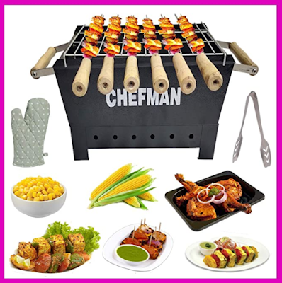 Chefman Charcoal Barbeque Grill Set Suitable for Picnic, Household & Outdoor Parties