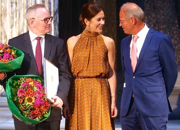Crown Princess Mary wore Diane von Furstenberg Polka-dot washed silk dress. Crown Princess wore a top and skirt by Diane von Furstenberg