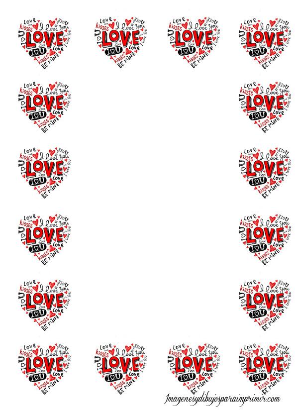 hojas con corazones para imprimir   Imagenes y dibujos para imprimir