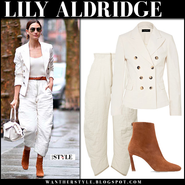 Lily Aldridge in cream blazer, isabel marant elome cream cropped pants and brown suede booties stuart weitzman street spring fashion april 3