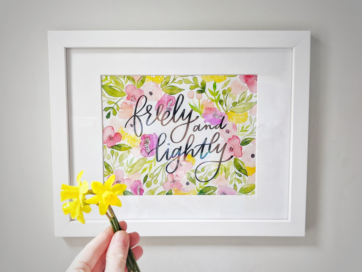 """Freely and Lightly"" hand lettered watercolor print inspired by the ballet novel Cantique"