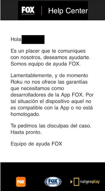 Negativa de FOX Play de incluir Roku en su lista de dispositivos