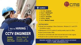 Diploma / Degree / ITI Hiring For CCTV Engineers  in Madhya Pradesh, Chhattisgarh, Orissa, Karnataka, Kerala, Andaman Locations
