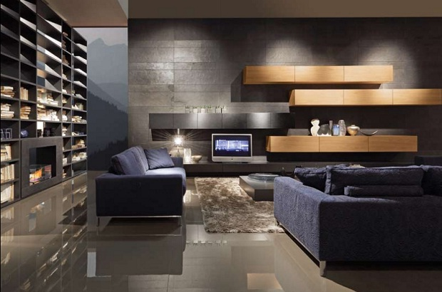 Sala de estar minimalista funcional con pared oscura por for Sala casa minimalista