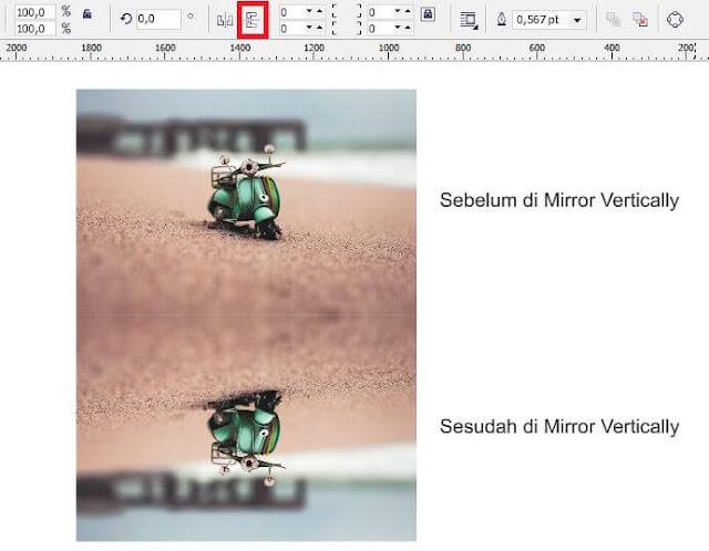 Fungsi Mirror Horizontally dan Vertically pada CorelDRAW