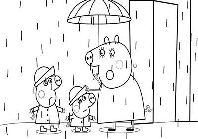 Dibujo en un día de lluvia de peppa pig george y su mamá para colorear