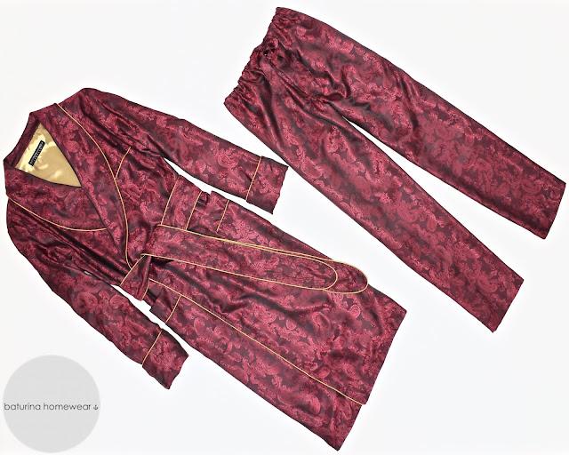 mens burgundy silk robe red paisley dressing gown pajamas set
